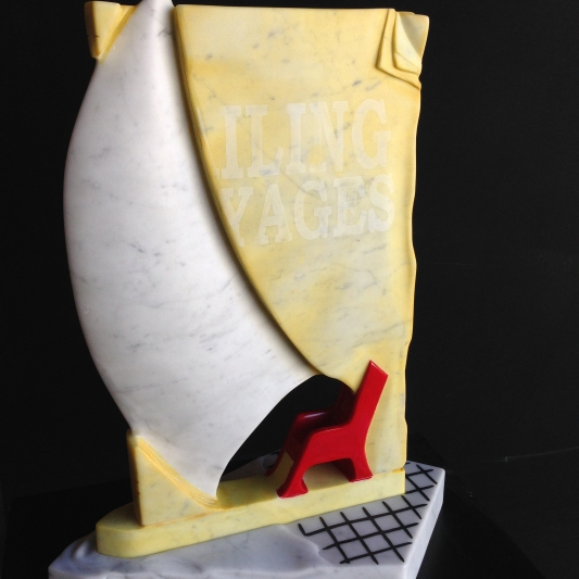 """Armchair Sailor"" Carrara marble, painted and stained 59.5cm high x 45cm wide x 24cm deep AUD $2.500"