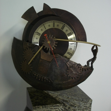 """Fractured Time"" Bronze & Mixed Media $2,200"