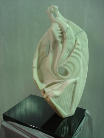 """Reverie"" Statuario marble and granite base 86cm high x 46cm wide x 18cm deep AUD $6.000"