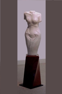 """""""Rosa Pearl"""" Rosa Portugal marble on an imperial red granite base 170cm high AUD $30.000"""