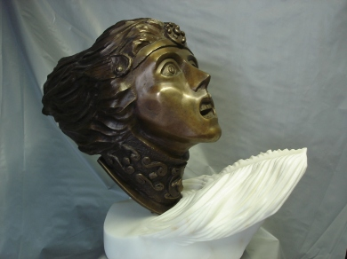 """""""Ride of he Valkyrie"""" Bronze and marble edition 1-7 49cmhigh x 60cm wide x 24cm deep AUD $3.300"""
